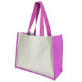 Fuchsia - Front - Westford Mill Printers Jute Cot Shopper Bag (21 Litres) (Pack of 2)