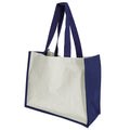 Navy Blue - Front - Westford Mill Printers Jute Cot Shopper Bag (21 Litres) (Pack of 2)