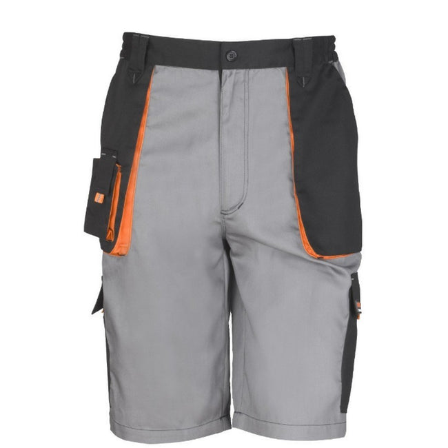 Black-Grey-Orange - Front - Result Mens Work-Guard Lite Shorts