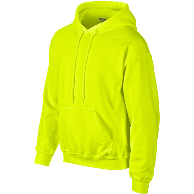 New Safety Green - Side - Gildan Heavyweight DryBlend Adult Unisex Hooded Sweatshirt Top - Hoodie (13 Colours)