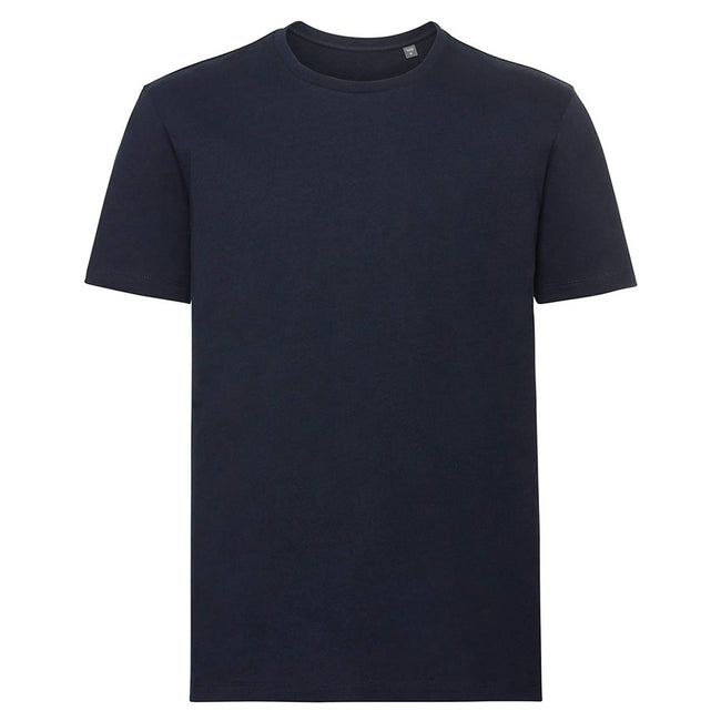 French Navy - Front - Russell Mens Pure Organic Short-Sleeved T-Shirt
