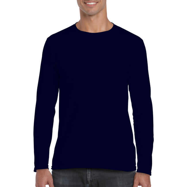 Navy - Back - Gildan Mens Soft Style Long Sleeve T-Shirt