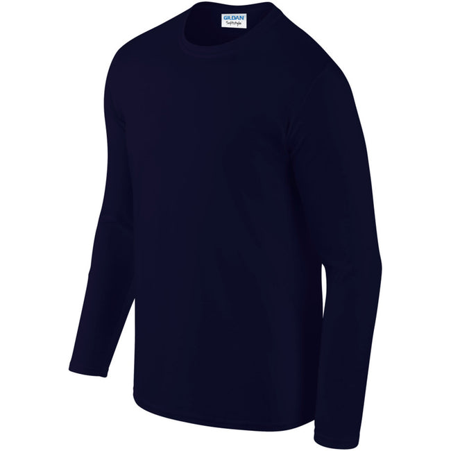 Navy - Pack Shot - Gildan Mens Soft Style Long Sleeve T-Shirt