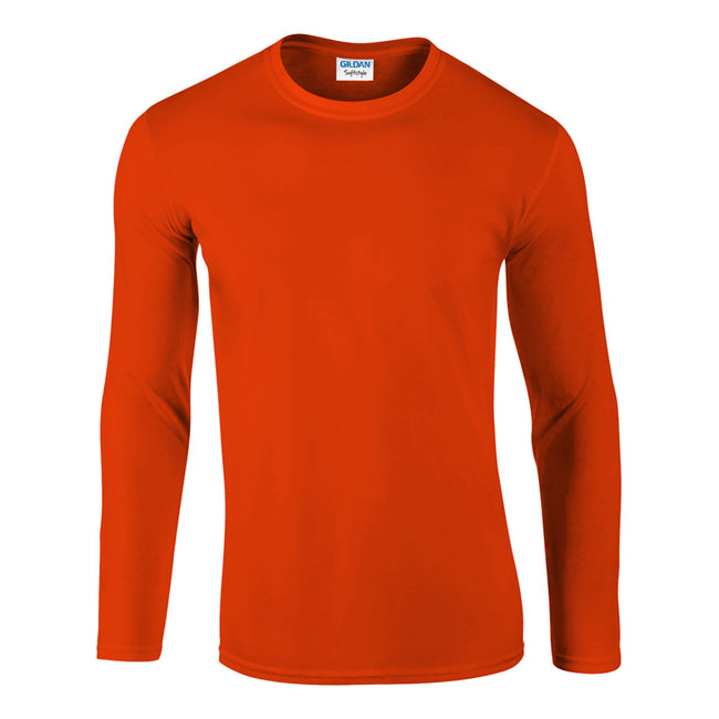 Orange - Front - Gildan Mens Soft Style Long Sleeve T-Shirt