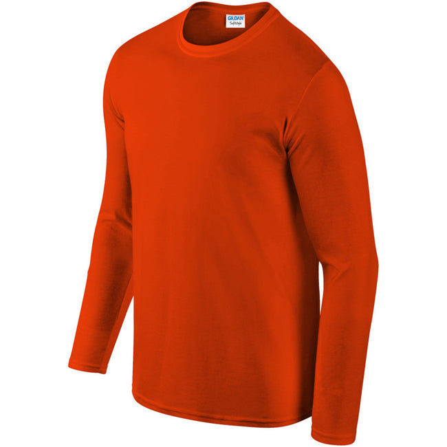 Orange - Pack Shot - Gildan Mens Soft Style Long Sleeve T-Shirt
