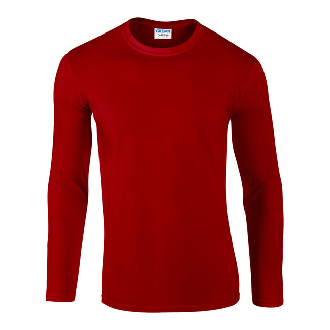 Red - Front - Gildan Mens Soft Style Long Sleeve T-Shirt