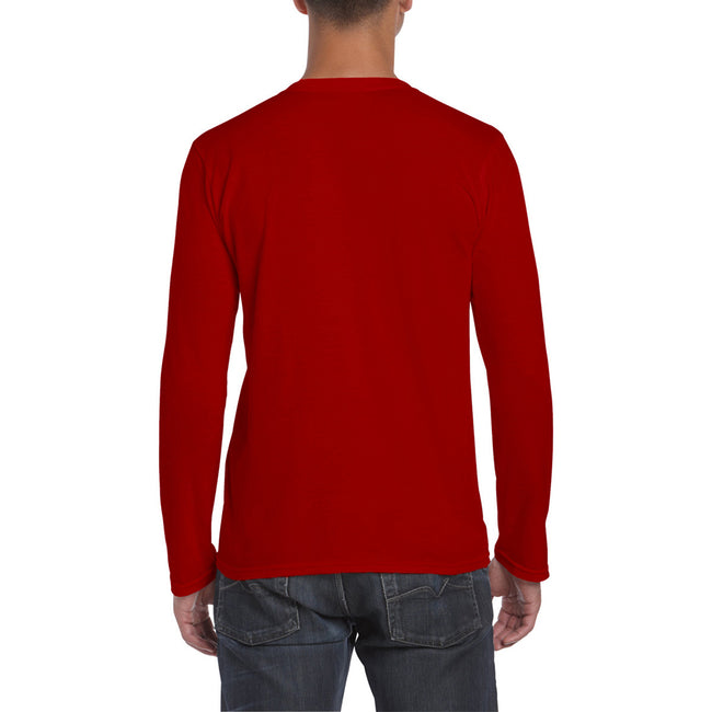 Red - Side - Gildan Mens Soft Style Long Sleeve T-Shirt