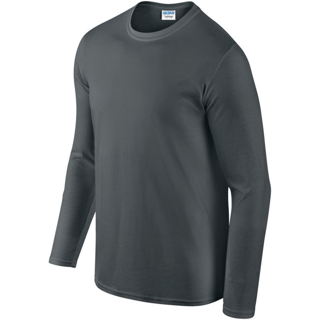 Charcoal - Pack Shot - Gildan Mens Soft Style Long Sleeve T-Shirt