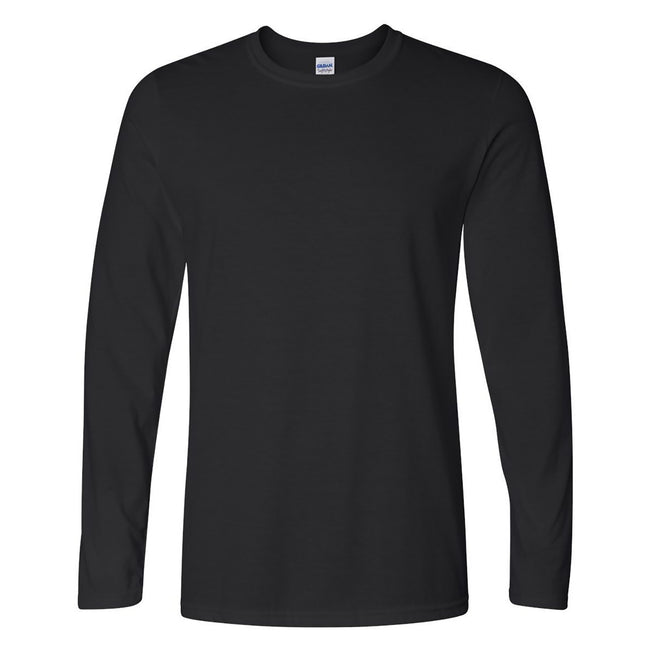 Black - Front - Gildan Mens Soft Style Long Sleeve T-Shirt