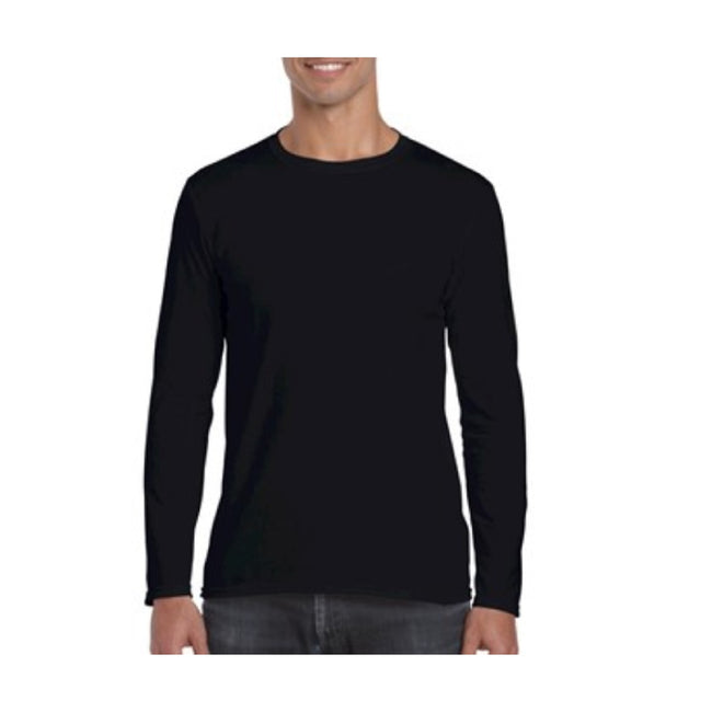 Black - Back - Gildan Mens Soft Style Long Sleeve T-Shirt