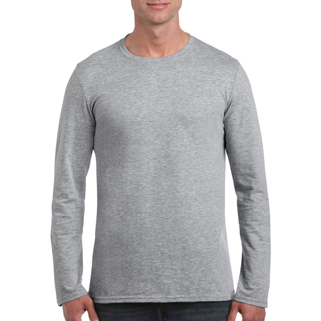 Charcoal - Front - Gildan Mens Soft Style Long Sleeve T-Shirt