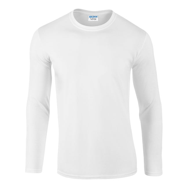 White - Front - Gildan Mens Soft Style Long Sleeve T-Shirt