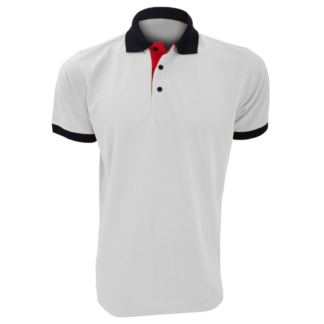 Wte-Nvy-Red - Front - Kustom Kit Contrast Mens Short Sleeve Polo Shirt