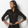 Black - Side - Kustom Kit Ladies 3-4 Sleeve Corporate Oxford Shirt