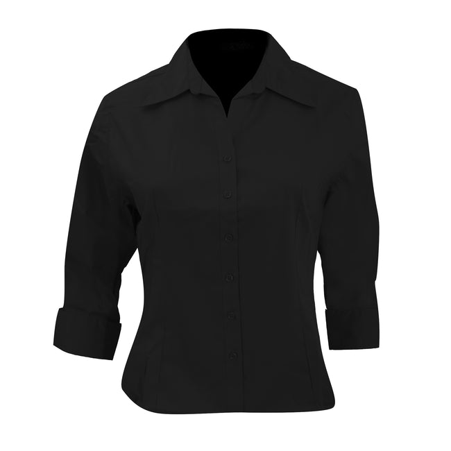 Black - Front - Kustom Kit Ladies 3-4 Sleeve Corporate Oxford Shirt
