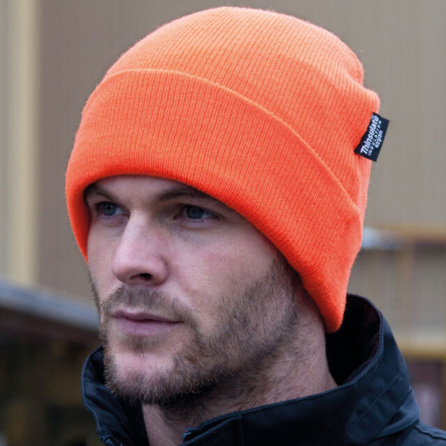 Hi Vis Orange - Side - Result Woolly Thermal Ski-Winter Hat with 3M Thinsulate Insulation