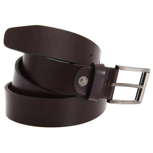 Brown - Front - FLOSO Mens Leather Lined Belt