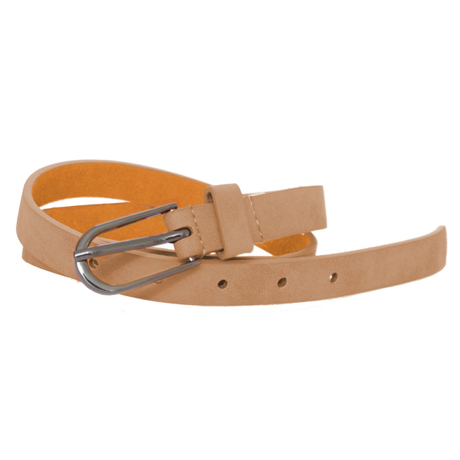 Beige - Front - Forest Womens-Ladies Simple Leather Belt