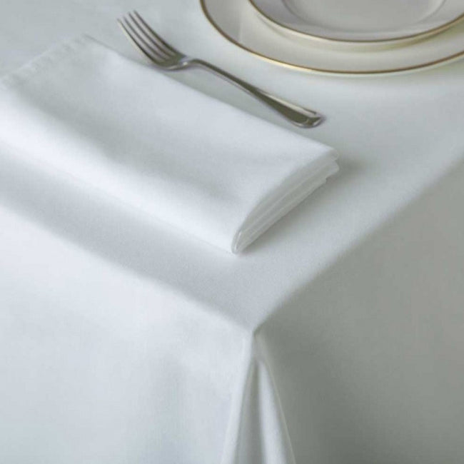 White - Front - Belledorm Amalfi Round Table Cloth