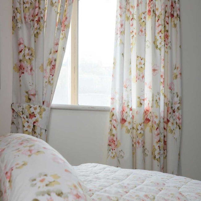 Ivory - Front - Belledorm Cherry Blossom Lined Curtains