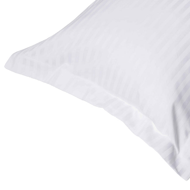 White - Front - Belledorm 540 Thread Count Satin Stripe Oxford Pillowcase