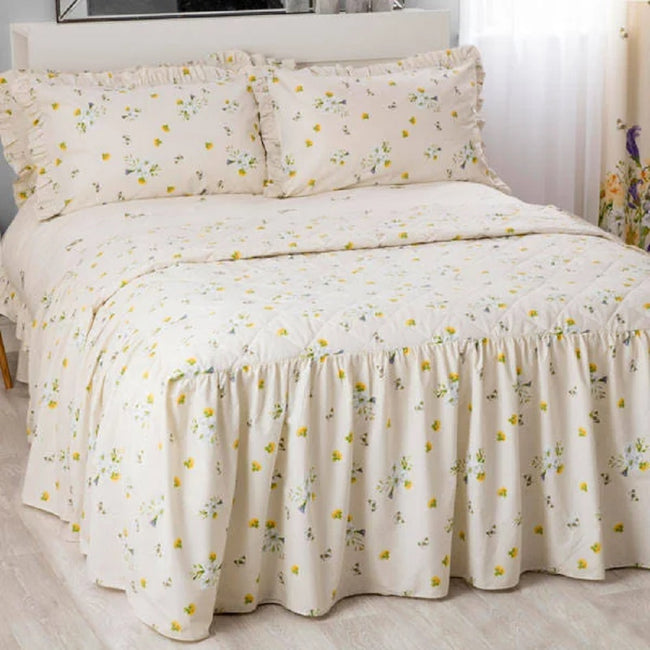 Ivory - Back - Belledorm Bluebell Meadow Fitted Bedspread