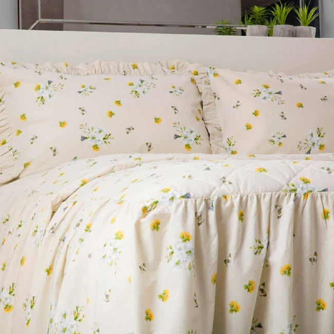 Ivory - Side - Belledorm Bluebell Meadow Fitted Bedspread
