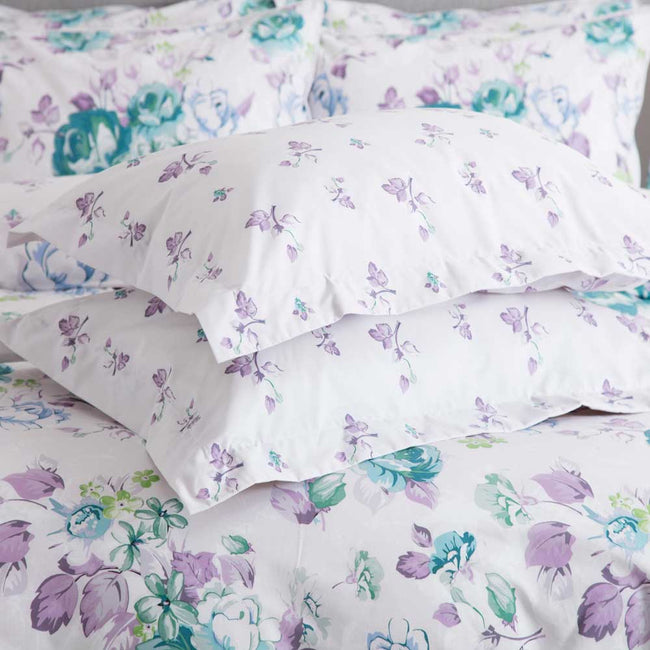 White-Purple-Green - Front - Belledorm Melody Pillowcase (Pair)