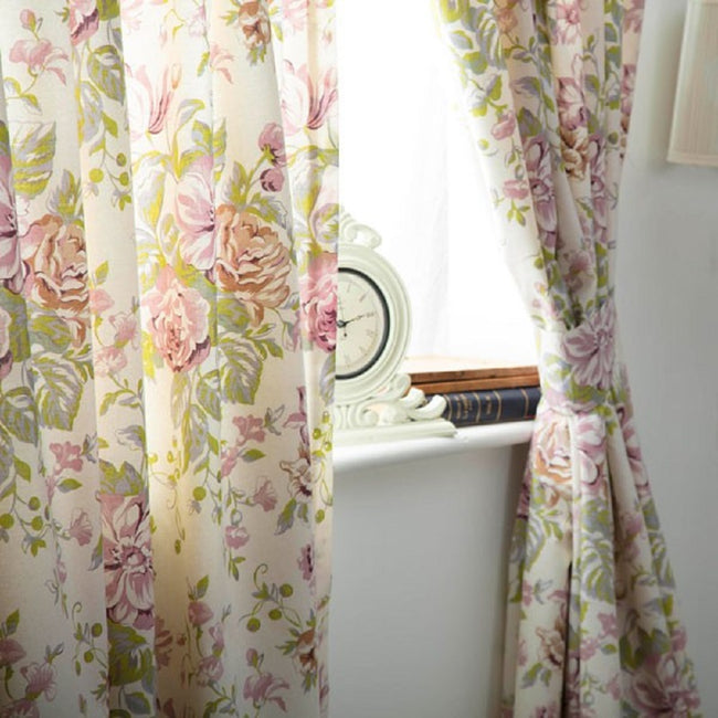 Ivory-Pink-Green - Back - Belledorm Rose Boutique Lined Curtains