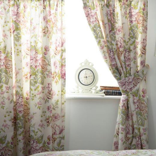Ivory-Pink-Green - Front - Belledorm Rose Boutique Lined Curtains