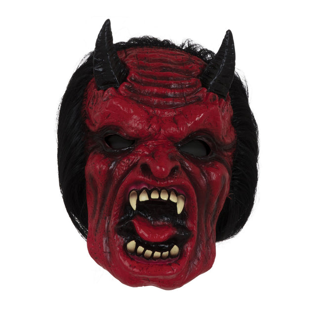 Red-Black - Front - Bristol Novelty Unisex Adults Devil Mask With Hair