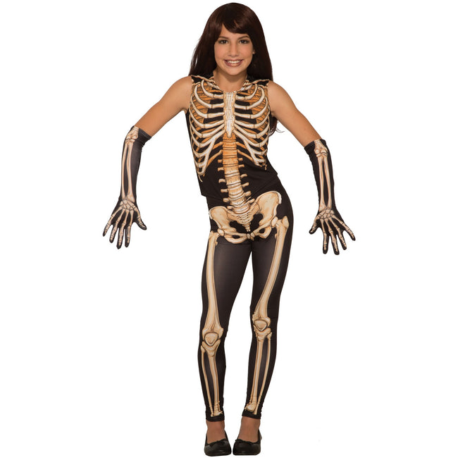 Black - Front - Bristol Novelty Childrens-Kids Pretty Bones Skeleton Costume