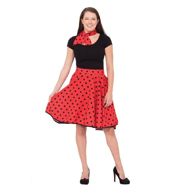 Red - Front - Bristol Novelty Womens-Ladies Rock N Roll Skirt