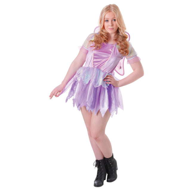 Purple - Front - Bristol Novelty Teens-Girls Fantasy Fairy Dress And Wings Costume