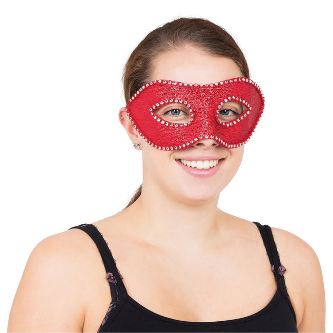 Red - Front - Bristol Novelty Unisex Adults Eye Mask With Rhinestones