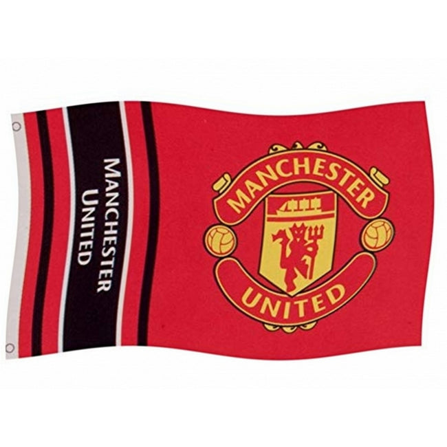 Red - Front - Manchester United FC Wordmark Stripes Flag