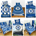 Blue-White - Back - Chelsea FC Official Football Patch Single Duvet And Pillow Case Set