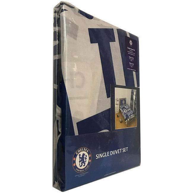 Blue-White - Side - Chelsea FC Official Football Patch Single Duvet And Pillow Case Set