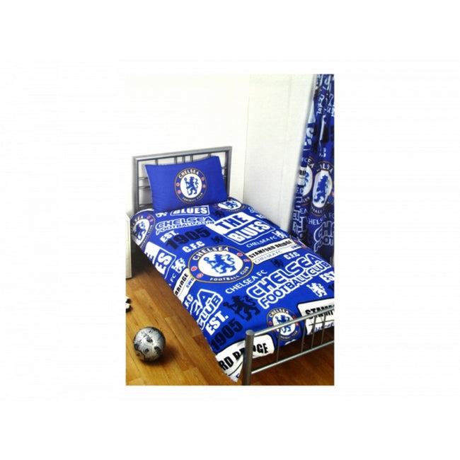 Blue-White - Front - Chelsea FC Official Football Patch Single Duvet And Pillow Case Set