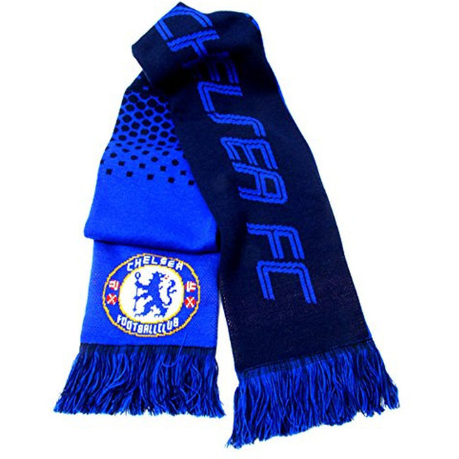 Blue-Navy - Back - Chelsea FC Official Football Jacquard Fade Design Scarf