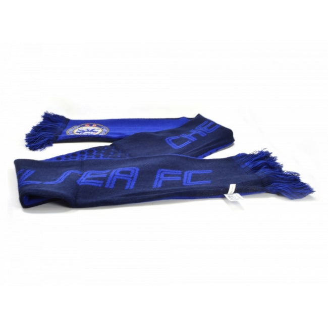 Blue-Navy - Front - Chelsea FC Official Football Jacquard Fade Design Scarf