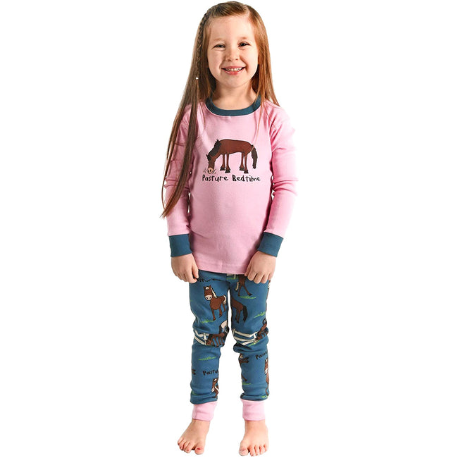 Pink-Blue-Brown - Front - LazyOne Childrens-Kids Pasture Bedtime Long Sleeved Pyjama Set