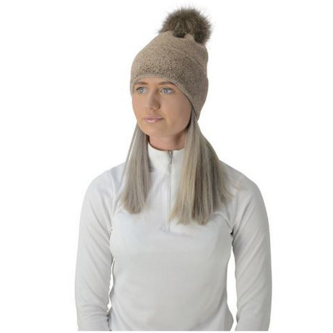 Beige-Gold - Front - HyFASHION Womens-Ladies Alaska Diamante Bobble Hat