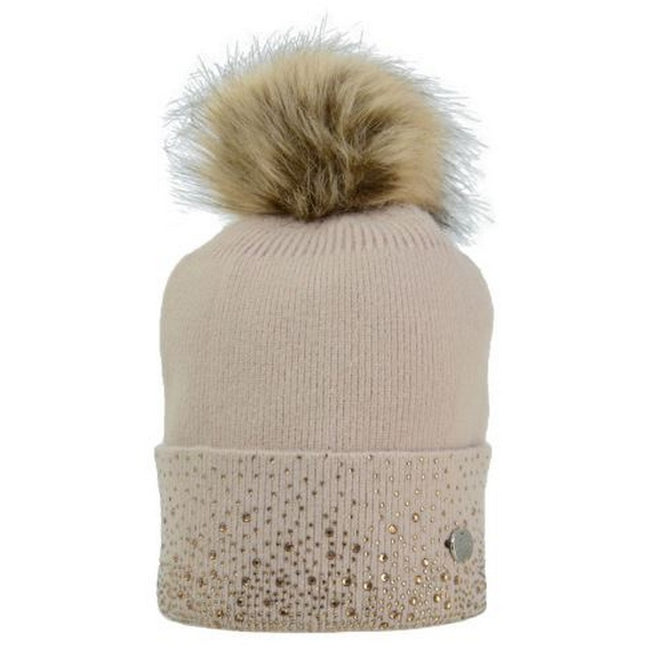 Beige-Gold - Back - HyFASHION Womens-Ladies Alaska Diamante Bobble Hat