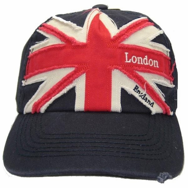 Navy-Red - Front - Mens Union Jack London England Embroidered Baseball Cap
