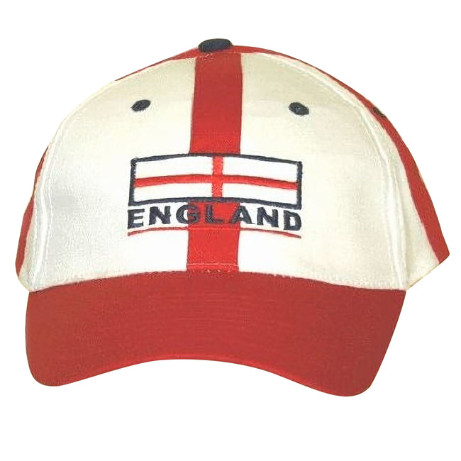As Shown - Front - England Baseball Cap Red White With Adjustable Strap