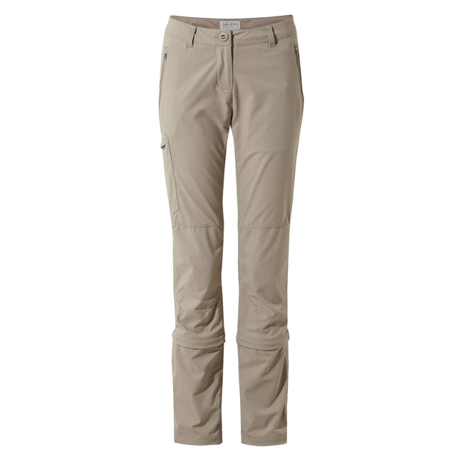 Mushroom - Front - Craghoppers Womens-Ladies NosiLife Pro II Capri Convertible Trousers
