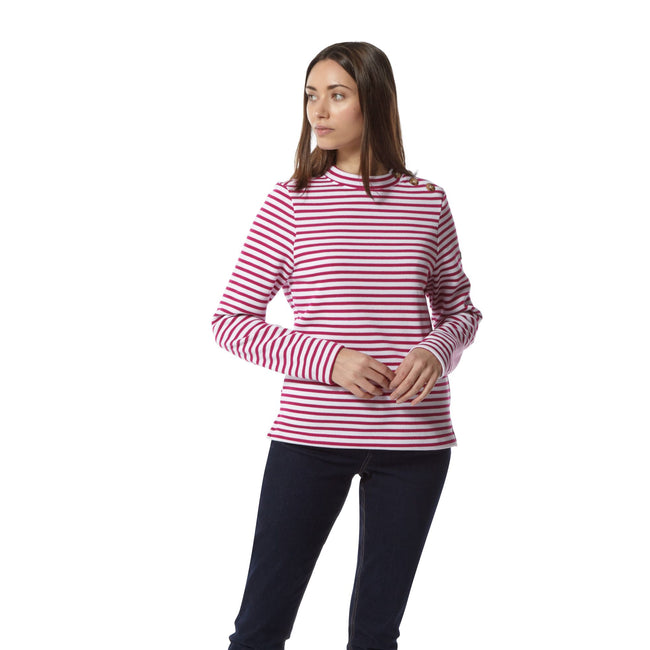 Amalfi Rose Stripe - Back - Craghoppers Womens-Ladies Balmoral Crew Neck Long Sleeve Fleece