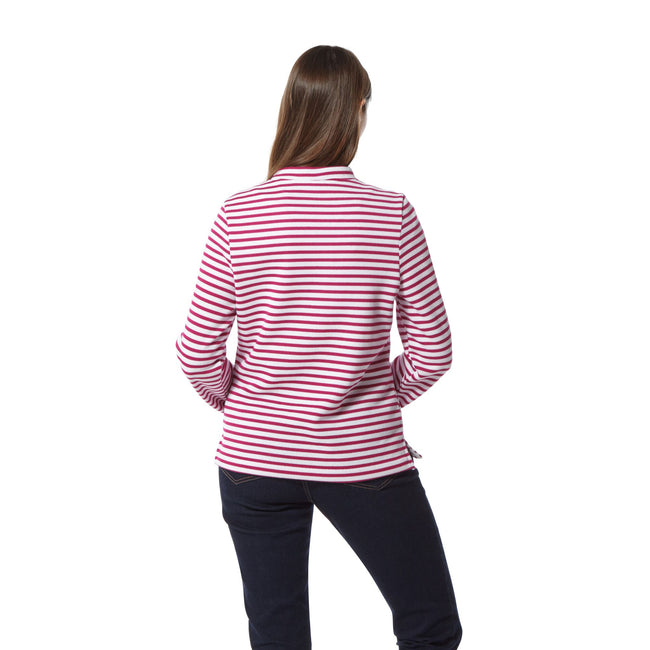 Amalfi Rose Stripe - Side - Craghoppers Womens-Ladies Balmoral Crew Neck Long Sleeve Fleece