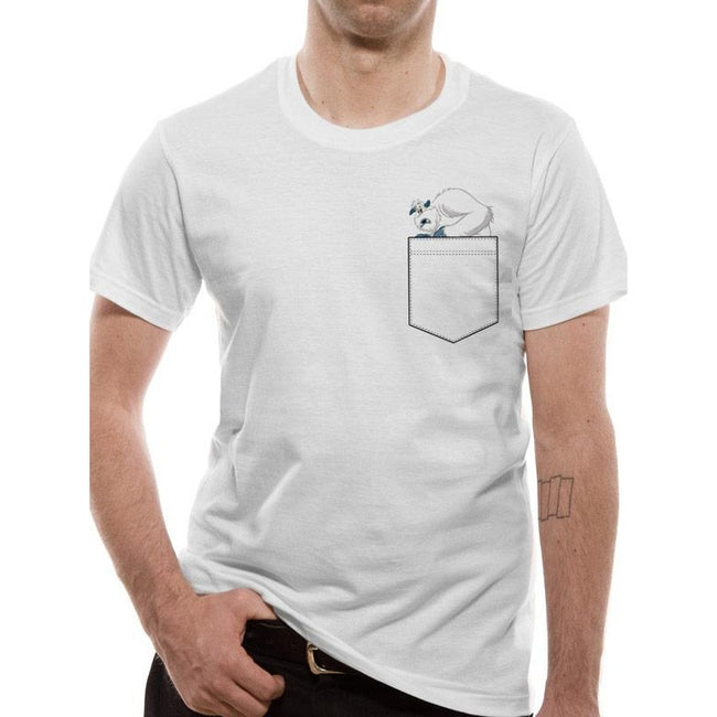 White - Front - Smallfoot Adults Unisex Adults Migo Pocket T-Shirt